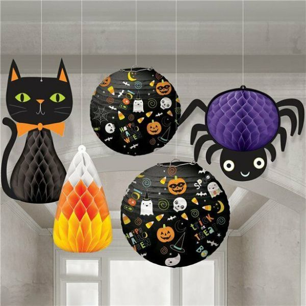 Halloween Hanging Bouquet Spider and Cat 5 pk